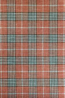 Italian Silk Linen Wool Blend Plaid in Rust0