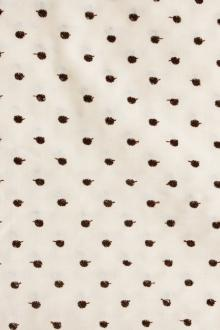 Cotton Embroidered Dots in Brown on Ivory0