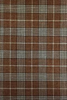 Italian Silk Linen Wool Blend Plaid in Brown0