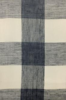 Linen Mesh Plaid in New Indigo and Ivory0