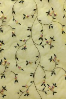Silk Organza Embroidered with Small Flowers on Vines0