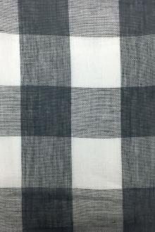 Linen Mesh Plaid in Charcoal and Ivory0