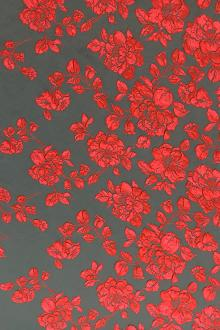 Silk Blend Cloqué Panel with Red Roses 0