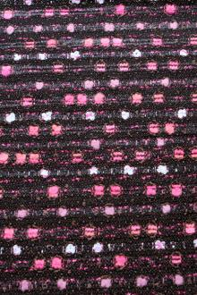 Cotton Blend Tweed in Black and Pinks0