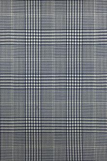 Italian Wool Lycra Glen Plaid in Blue0