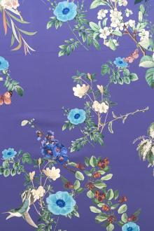 Printed 6Ply Silk Crepe with Large Vibrant Flowers 0