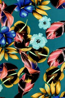 Viscose Poplin Print with Tropical Flowers0