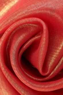Microfiber Gold Metallic Chiffon in Scarlet0