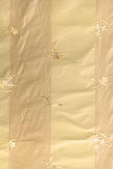 Silk Shantung with Thick Stripes and Small Floral Embroiders0