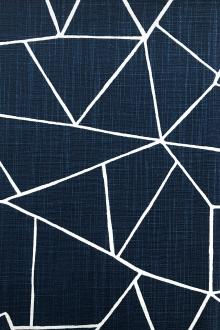 Denim Blue Cut Glass Cotton Upholstery Print0