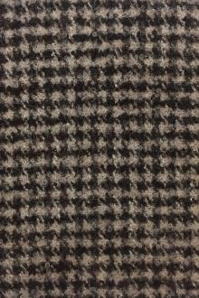 Italian Alpaca Boucle Houndstooth in Brown and Beige0