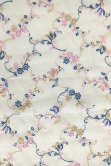 Silk Organza with Colorful Floral Embroidery 0