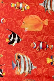 Silk Charmeuse Print with Tropical Fish0