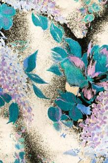 Printed Silk and Rayon Panné Velvet with Retro Floral Motifs0