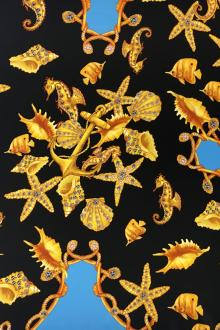 Printed Silk Charmeuse with Jewelled Seashells and Seahorses0