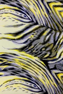 Printed Silk Gazar with Extra Large Feathers0