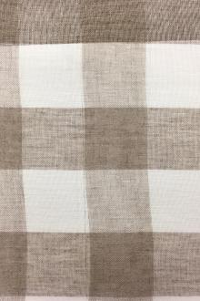 Linen Mesh Plaid in Natural and Ivory0