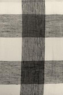 Linen Mesh Plaid in Black and Ivory0