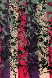 Silk And Rayon Burnout Velvet with Flowery Vines PANEL0
