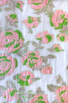 Silk Blend Metallic Fil Coupé Organza with Bright Roses0