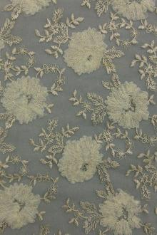 Floral Metallic Embroidered Tulle0