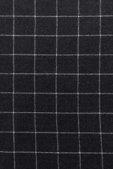 Italian Virgin Wool And Lycra Window Pane Flannel in Charcoal0