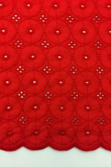 Cotton Eyelet in Red0