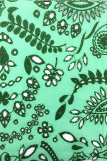 Cotton Eyelet With Paisley Motif In Turquoise And Green0