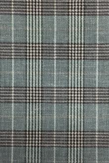 Italian Silk Linen Wool Blend Plaid in Sage0