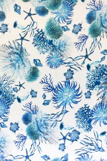 Printed Silk Charmeuse with Corals and Anemones0