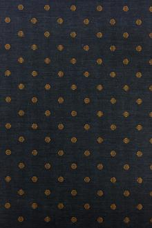 Cotton Woven Dot Shirting in Indigo and Mustard Yellow0