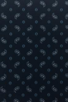 Japanese Cotton Print With Navy Paisley Motif0