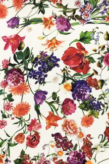 Printed 6Ply Silk Crepe with Vibrant Florals0