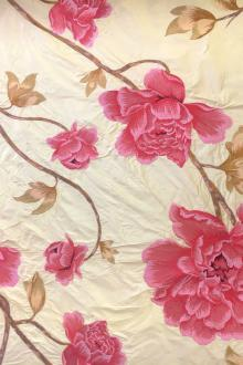 Embroidered Silk Shanting with Large Florals0