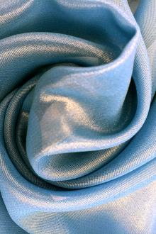 Microfiber Gold Metallic Chiffon in Tropic Blue0