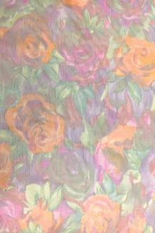 Printed Silk Chiffon with Roses and Lurex Stripes0