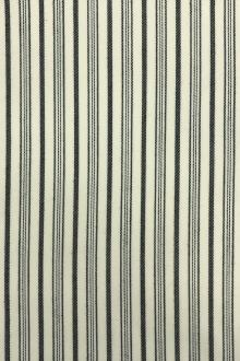 Wool Lycra Suiting Stripe in Cream and Black0
