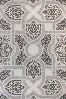 Light Weight Linen Print Arabesque Mosaic 0