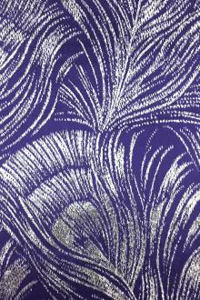 Silk Lurex Panne Velvet with Peacock Feather Motif in Violet Silver0