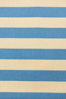 "Japanese Cotton Canvas 1.25"" Stripe In Blue And Natural0"
