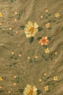 Embroidered Silk Brocade with Florals0