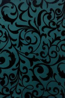 Italian Metallic Flocked Silk Taffeta With Arabesque Pattern0