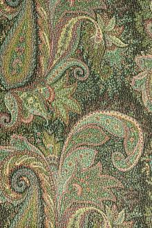 Silk and Wool Blend Metallic Crepe with Paisley Patterns0