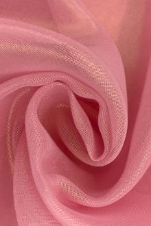 Microfiber Gold Metallic Chiffon in Bubblegum Pink0