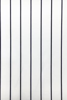 Italian Cotton Shirting Stripe in White and Navy0