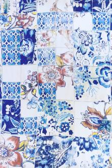 Printed Silk Charmeuse with Ornate Italian Tile Patterns0