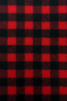 Italian Virgin Wool Doubleface Plaid Coating in Red and Black0