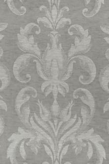 Poly Linen Double Gauze Filigree Damask in Grey0