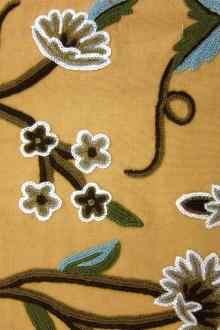 Floral Crewel Embroidery on Cotton Canvas0