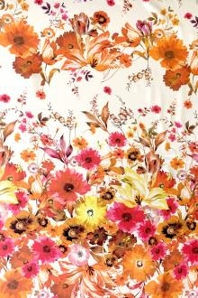 Printed Silk Charmeuse with Rows of Florals0